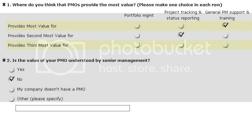 PMO Survey - value of PMOs
